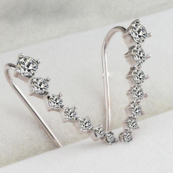 Rhinestone Ear Crawler Earrings